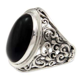NOVICA Handmade Men's Sterling Silver Song of the Night Onyx Ring (Indonesia)