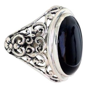 Handmade Men's Sterling Silver 'Song of the Night' Onyx Ring (Indonesia)