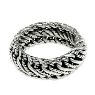 Handcrafted Men's Sterling Silver 'Infinity Wave' Ring (Indonesia)