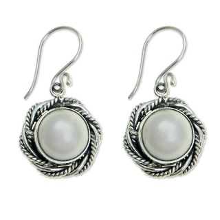 Sterling Silver 'White Roses' Pearl Earrings (11.5mm) (Indonesia)