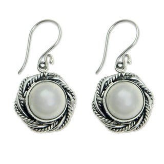 Handmade Sterling Silver 'White Roses' Pearl Earrings (11.5mm) (Indonesia)