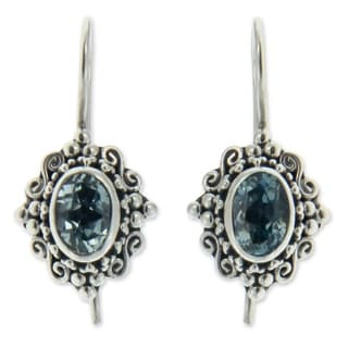 Handmade Sterling Silver 'Balinese Elegance' Topaz Earrings (Indonesia)