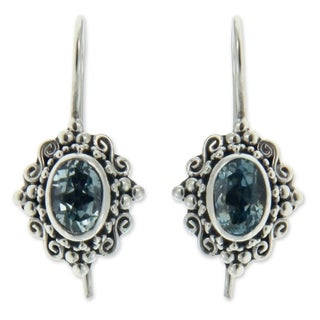 Sterling Silver 'Balinese Elegance' Topaz Earrings (Indonesia)