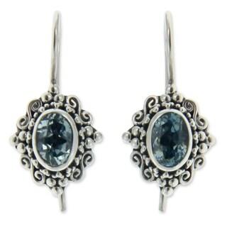 Handmade Sterling Silver 'Balinese Elegance' Topaz Earrings (Indonesia)