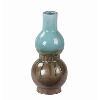 Privilege Small Turquoise Drip Ceramic Vase