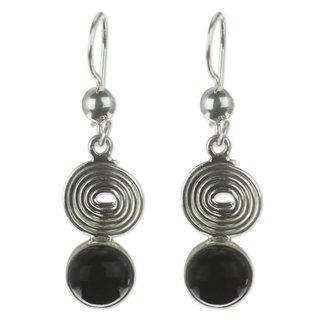 Handmade Sterling Silver 'Spiral of Life' Jade Earrings (Guatemala)
