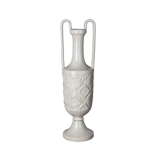 Privilege White Small Ceramic Vase with Handles