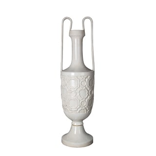 Privilege White Large Ceramic Vase with Handles