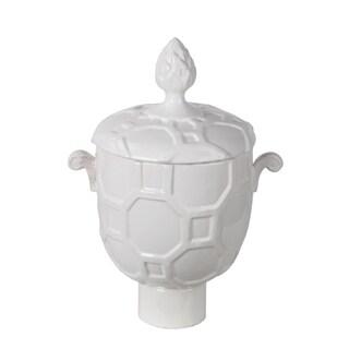 Privilege White Small Ceramic Vase with lid