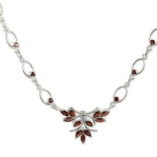 Handmade Sterling Silver 'Love's Spark' Garnet Necklace (India)
