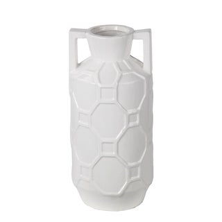 Privilege White Large Ceramic Jar with Handles