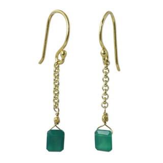 Handmade Gold Overlay Sterling Silver Living Soul Onyx Danlging Style Earrings (Thailand)