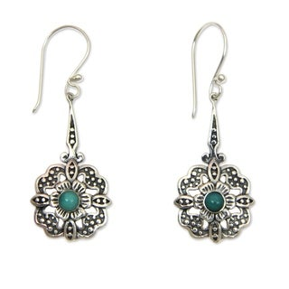 Handmade Sterling Silver 'Turquoise Rafflesia' Turquoise Earrings (Indonesia)