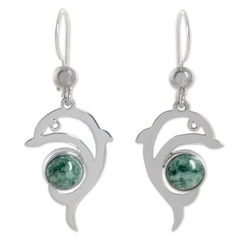 Handmade Sterling Silver 'Pale Green Dolphin' Jade Earrings (Guatemala)