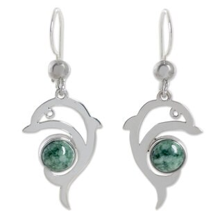 Sterling Silver 'Pale Green Dolphin' Jade Earrings (Guatemala)