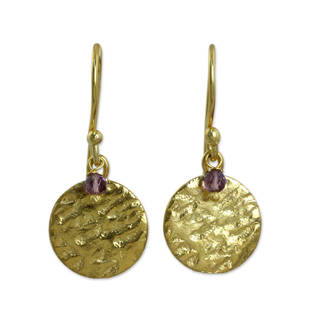 Gold Overlay 'Purple Harvest Moon' Amethyst Earrings (Thailand)