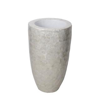 Privilege White Capiz Small Decorative Capese Vase
