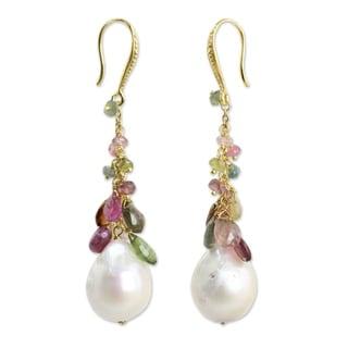 Gold Overlay 'Rainbow' Pearl Tourmaline Earrings (14.5 mm) (Thailand)