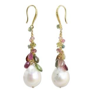 Handmade Gold Overlay 'Rainbow' Pearl Tourmaline Earrings (14.5 Mm) (Thailand)