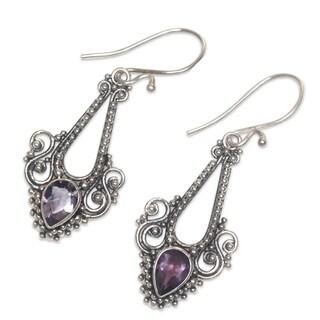 Handmade Sterling Silver 'Balinese Glitz' Amethyst Earrings (Indonesia)