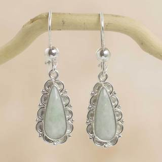 Sterling Silver 'Blossoming Green Dew' Jade Earrings (Guatemala)