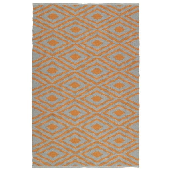 Indoor/Outdoor Laguna Grey and Orange Ikat Flat-Weave Rug - 9' x 12'