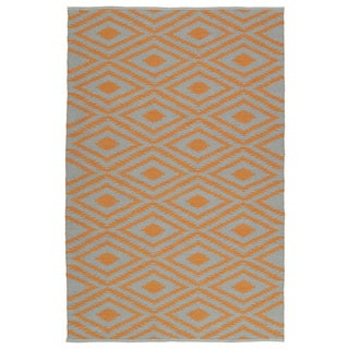 Indoor/Outdoor Laguna Grey and Orange Ikat Flat-Weave Rug (9'0 x 12'0)