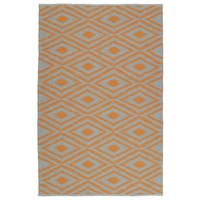Indoor/Outdoor Laguna Grey and Orange Ikat Flat-Weave Rug - 9' x 12'