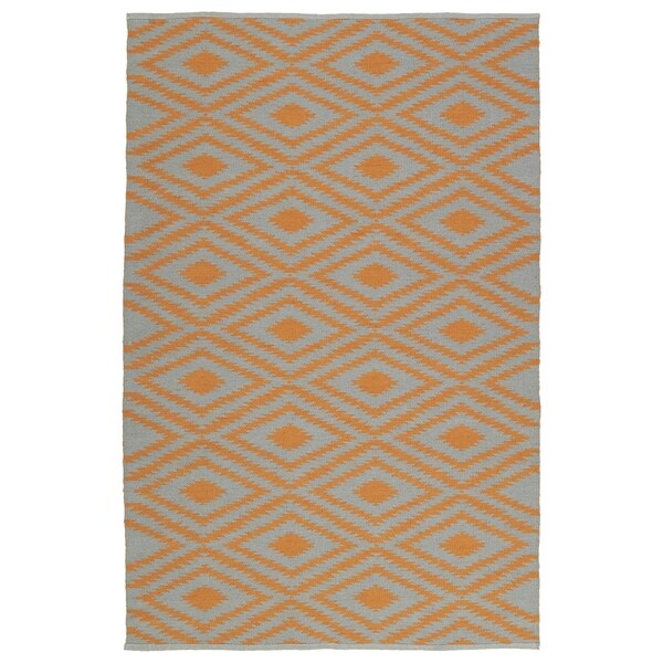 Indoor/Outdoor Laguna Grey and Orange Ikat Flat-Weave Rug - 8' x 10'