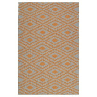 Indoor/Outdoor Laguna Grey and Orange Ikat Flat-Weave Rug (8'0 x 10'0)