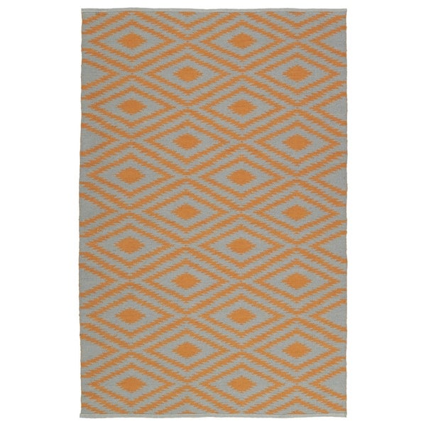 Indoor/Outdoor Laguna Grey and Orange Ikat Flat-Weave Rug (5' x 7'6)