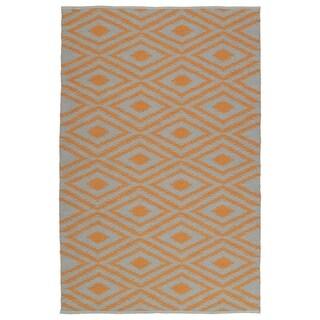 Indoor/Outdoor Laguna Grey and Orange Ikat Flat-Weave Rug (2' x 3')