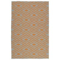 Indoor/Outdoor Laguna Grey and Orange Ikat Flat-Weave Rug - 2' x 3'