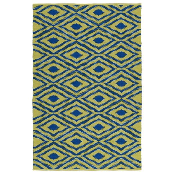 Indoor/Outdoor Laguna Yellow and Navy Ikat Flat-Weave Rug (9'0 x 12'0)