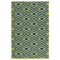 Indoor/Outdoor Laguna Yellow and Navy Ikat Flat-Weave Rug - 9' x 12'