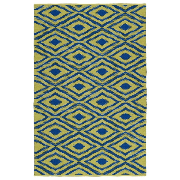 Indoor/Outdoor Laguna Yellow and Navyw Ikat Flat-Weave Rug (8'0 x 10'0)