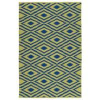 Indoor/Outdoor Laguna Yellow and Navyw Ikat Flat-Weave Rug - 8' x 10'