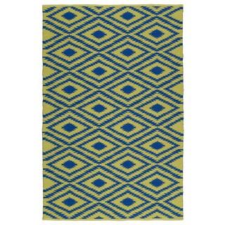 Indoor/Outdoor Laguna Yellow and Navy Ikat Flat-Weave Rug (2'0 x 3'0)