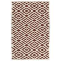 Indoor/Outdoor Laguna Ivory and Brick Ikat Flat-Weave Rug - 9' x 12'