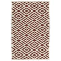 Indoor/Outdoor Laguna Ivory and Brick Ikat Flat-Weave Rug - 8' x 10'