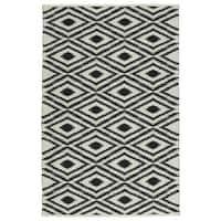 Indoor/Outdoor Laguna Ivory and Black Ikat Flat-Weave Rug (9'0 x 12'0)