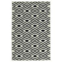 Indoor/Outdoor Laguna Ivory and Black Ikat Flat-Weave Rug - 8' x 10'