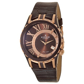 Edox Women's 'Grand Ocean' Black Stainless Steel and Rose Gold PVD Coated Swiss Mechanical Automatic Watch
