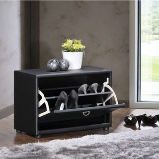 Baxton Studio Petito Contemporary 1-tier Black Faux Leather Upholstered Shoe Cabinet