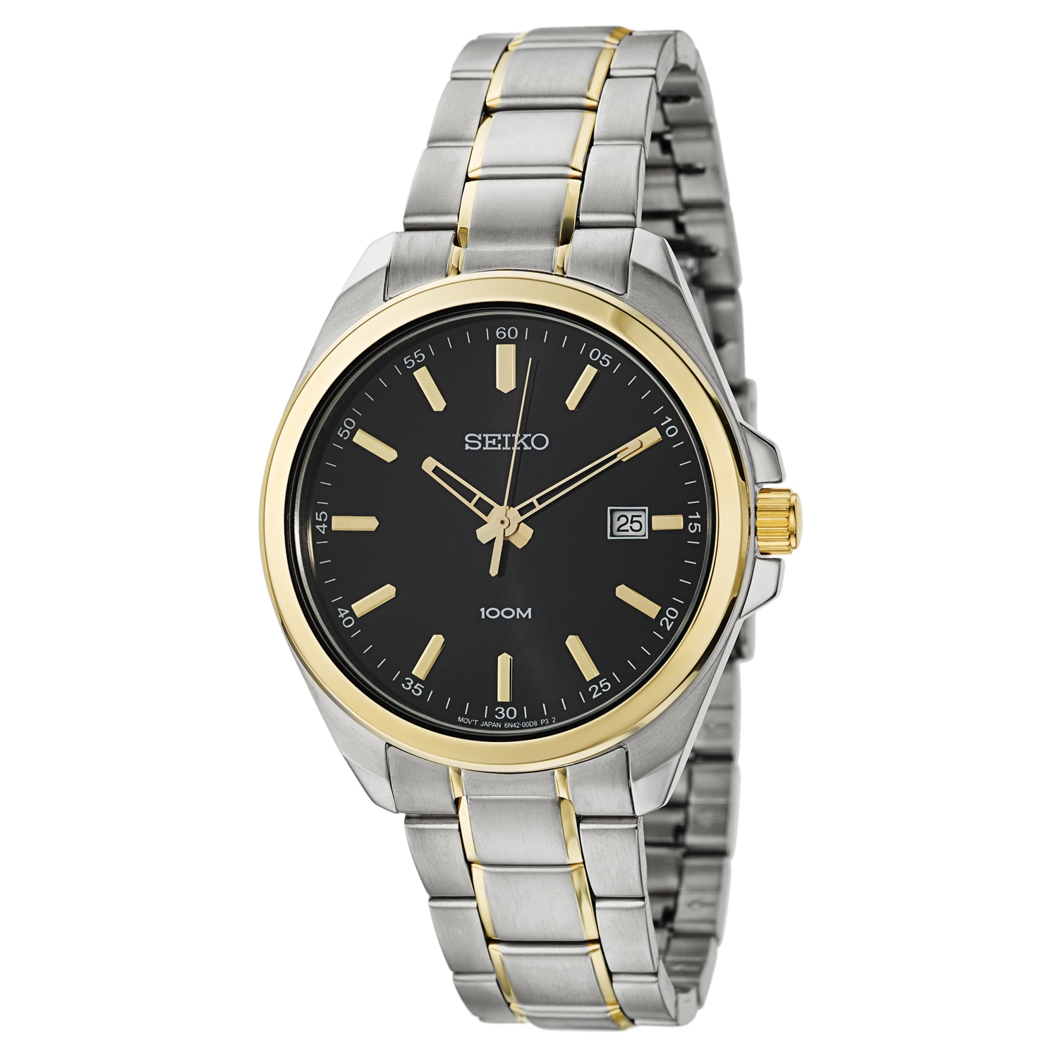 Seiko Men's 'Dress' Stainless Steel and Yellow Gold Plate...