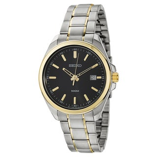 Seiko Men's 'Dress' Stainless Steel and Yellow Gold Plated Quartz Watch