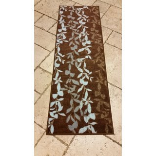 Ottomanson Prestige Collection Brown Contemporary Leaves Design Runner Rug (1'8 x 4'11)