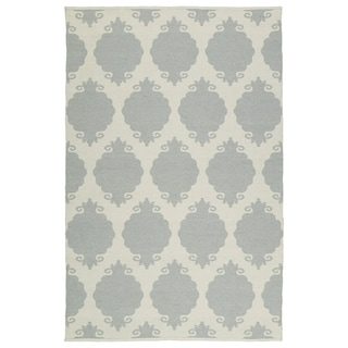 Indoor/Outdoor Laguna Grey Medallions Flat-Weave Rug (3' x 5') - 3' x 5'