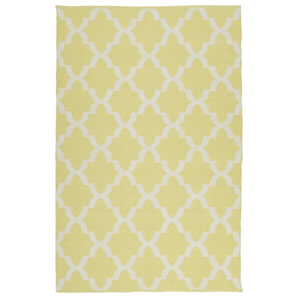 Indoor/Outdoor Laguna Yellow and Ivory Trellis Flat-Weave Rug - 9' x 12'