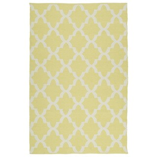 Indoor/Outdoor Laguna Yellow and Ivory Trellis Flat-Weave Rug (9'0 x 12'0)